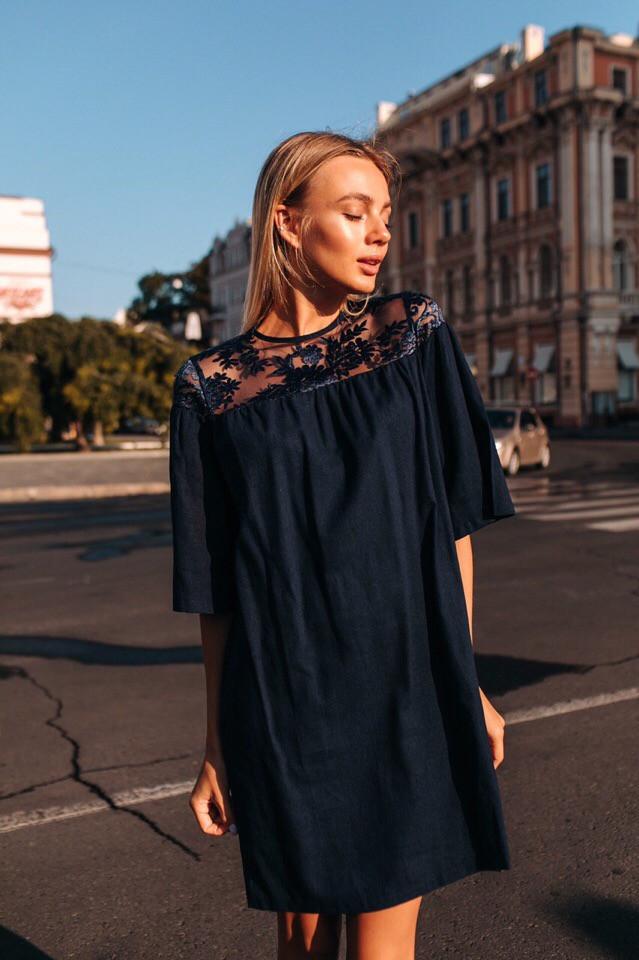 Платье женское короткое из льна со вставкой из кружева (К28539), фото 1
