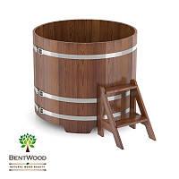 Купель для бани круглая BentWood диаметром 1500 мм мореная, фото 1