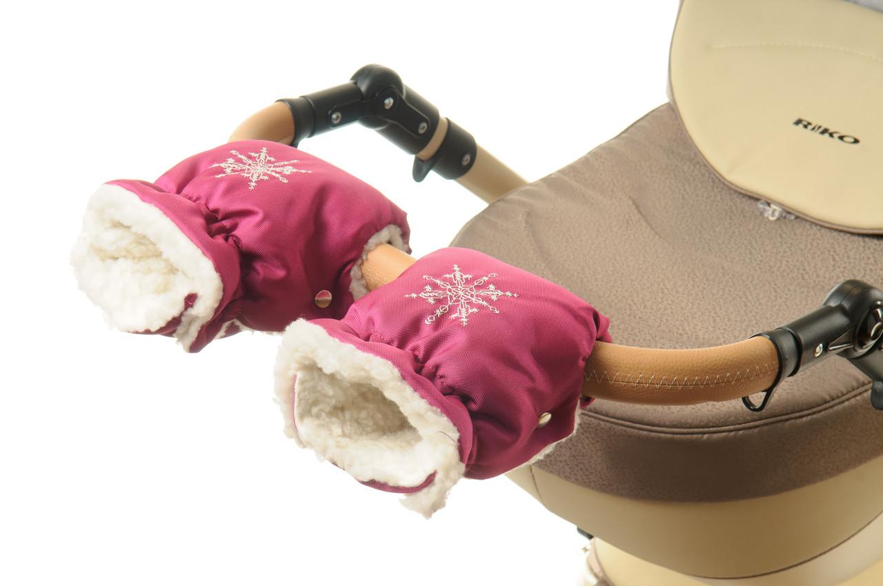 Рукавички-Муфта на коляску Ok Style Снежинка Малиновый блестящий