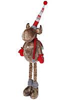 Мягкая новогодняя игрушка на телескопических ногах Олень 66-123см, цвет - бежевый