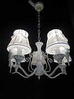 Классическая подвесная люстра с тканевыми абажурами (Птички)На 5 лампочек патина серебро, фото 1