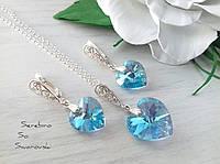 Ювелирный комплект из серебра с сердечками Сваровски