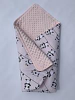 Плед- конверт  детский демисезонный из плюша Minky и хлопка для вашего малыша. ( одеяло в кроватку, коляску)