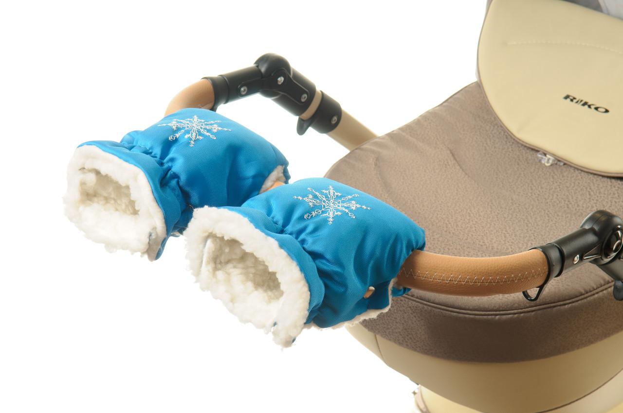 Рукавички-Муфта на коляску Ok Style Снежинка Бирюзовый блестящий