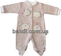 Детский человечек рост 68 (3-6 мес.) трикотаж розовый на девочку (слип) для новорожденных ТН-161