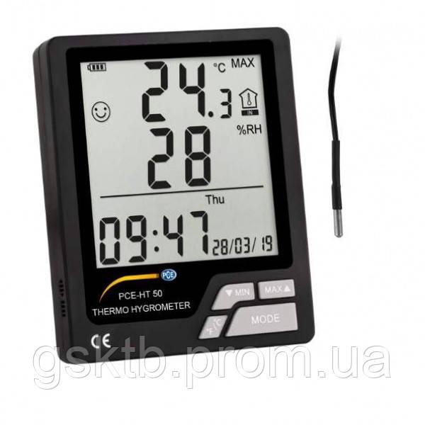Термогигрометр с внутренним и выносным датчиком температуры PCE-HT 50 (Германия)