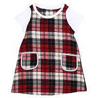 Платье для девочки  прямое в красную клетку