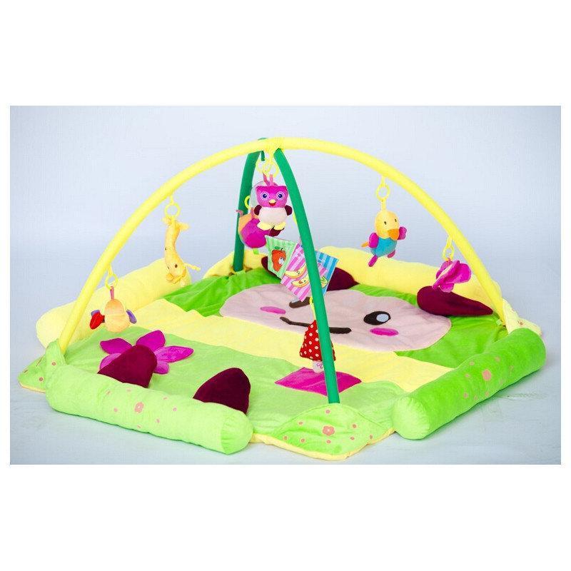Детский развивающий коврик игровой с подвесными игрушками Зеленый