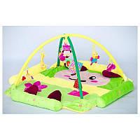 Детский развивающий коврик игровой с подвесными игрушками Зеленый, фото 1