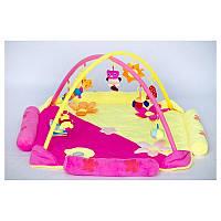 Детский развивающий коврик игровой с подвесными игрушками Розовый