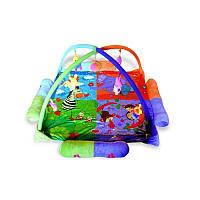 Детский развивающий коврик игровой Zoo с подвесными игрушками, фото 1