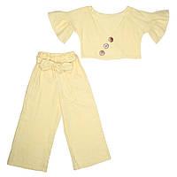 Комплект для дівчинки льняний, жовтого кольору, топ і штани