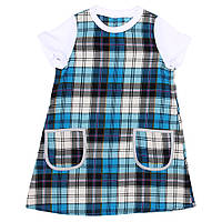 Платье для девочки  прямое в бирюзовую клетку