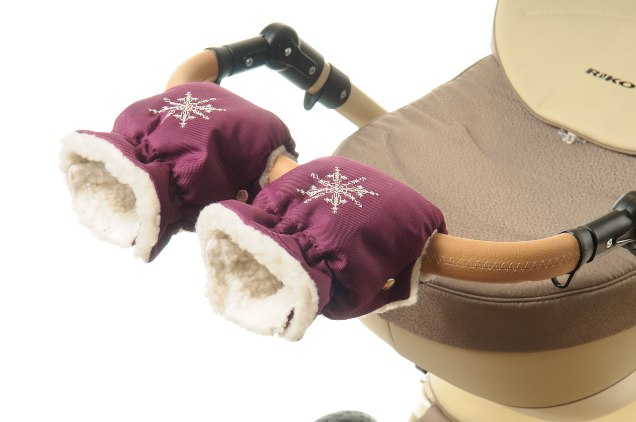 Рукавички-Муфта на коляску Ok Style Снежинка Вишневый