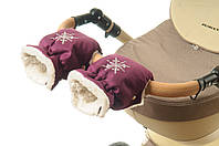 Рукавички-Муфта на коляску Ok Style Снежинка Вишневый, фото 1