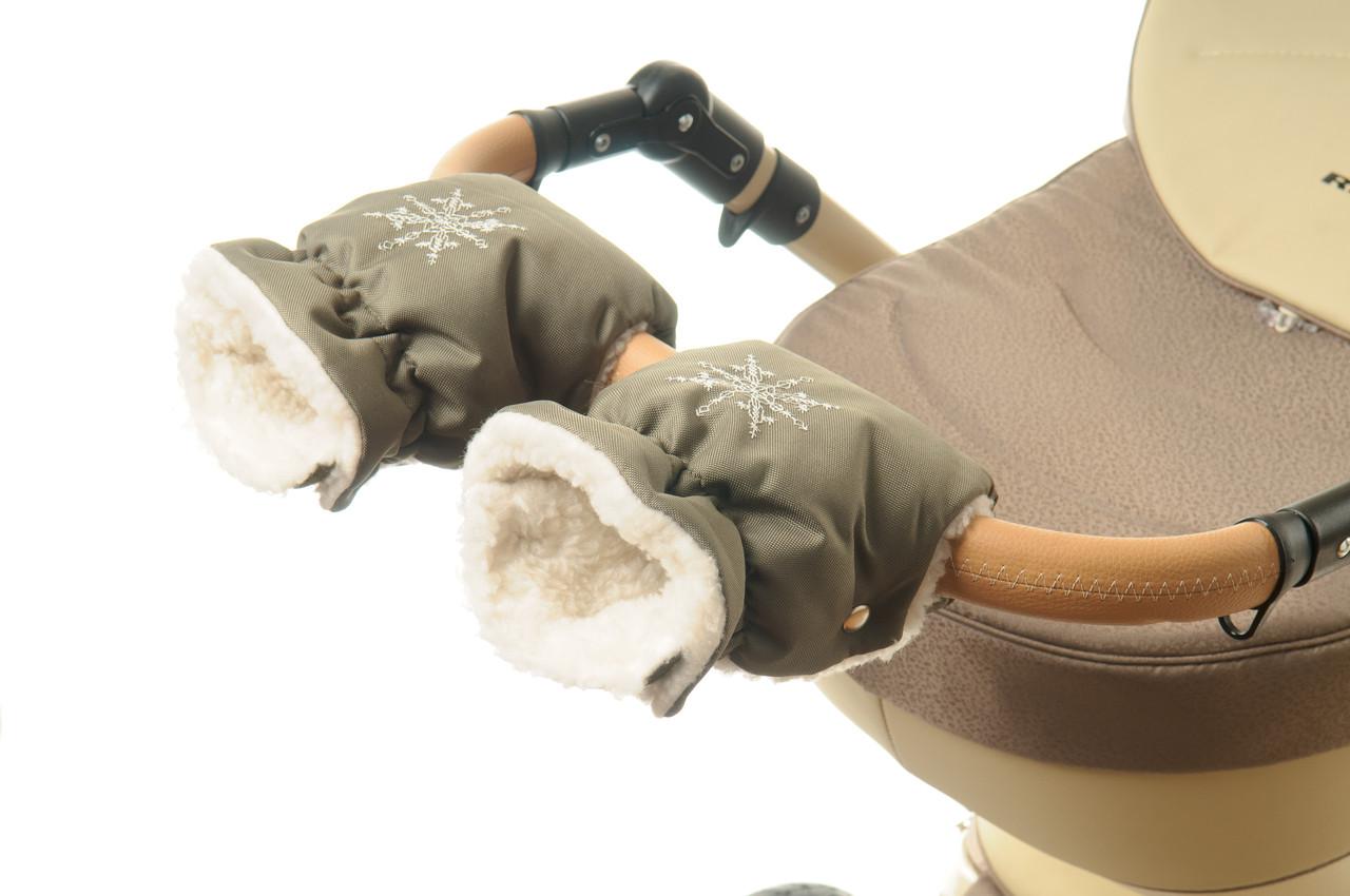 Рукавички-Муфта на коляску Ok Style Снежинка Хаки