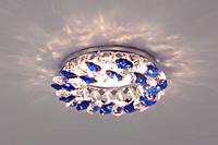Встраиваемый декоративный светильник с кристаллами Feron CD4141 синий - хром