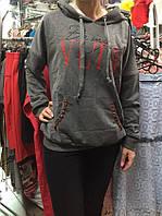 Худи женское свитшот с капюшоном Speedway Valentino серое