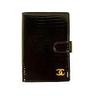 Обложка для паспорта, автодокументов кожаная женская Chanel 9013 черная