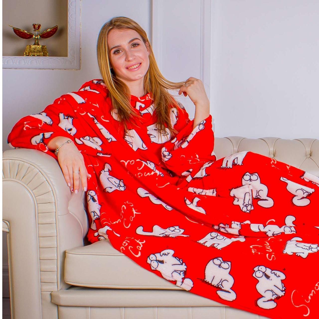 Рукоплед. Плед с рукавами и карманами из микрофибры с рисунками 200х160. Красные котики - R142064