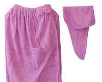 Полотенце - халат женское + чалма микрофибра для сауны бани 145*75