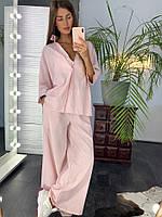 Костюм женский стильный летный лен рубашка и свободные брюки Dld1703