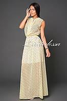 Платье длинное в горох желтый, фото 1