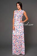 Платье длинное с цветочным принтом белый