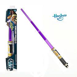 Электронный раскладной световой меч Мейса Винду звук, свет - Mace Windu, Star Wars, Hasbro - 138274