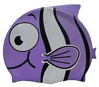 Дитяча шапочка для плавання бузкового кольору «Плавники», фото 1