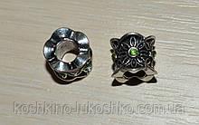 """бусина """"Пандора"""" с зеленым кристаллом"""