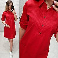 Платье-рубашка, модель 831, цвет - красный в горох