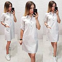Платье-рубашка, модель 831, цвет - белый в горох