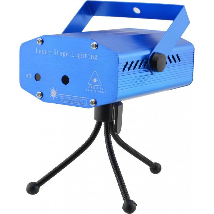 Лазерный проектор, стробоскоп, диско лазер UKC HJ06 6 в 1 c триногой Синий 4054