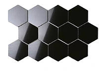 3D Шестигранная зеркальная наклейка на стену 12 шт. 80x70x40MM Черный