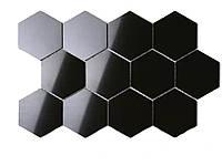 3D Шестигранная дзеркальна наклейка на стіну 12 шт. 80x70x40MM Чорний