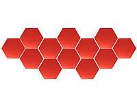 3D Шестигранная дзеркальна наклейка на стіну 12 шт. 80x70x40MM Червоний