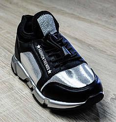 Кроссовки серебристо-черного цвета на резинке для девочки, Jong-Golf