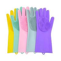 Многофункциональные силиконовые перчатки для уборки, мытья посуды D1031