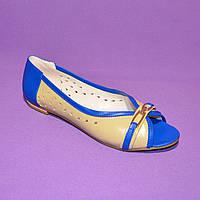 Женские кожаные летние балетки с открытым носком, фото 1