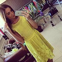 Летнее кружевное платье  с жемчугом