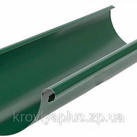 Водосток из оцинкованной стали  с полимерным покрытием- Желоб зеленый,6005