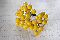 Глянцевые ягоды желтого  цвета (калина) 400 шт/уп. крупные 1 см диаметр оптом, фото 1