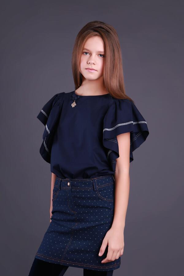 Хлопковая школьная блузка  Моне (синяя)  р-р  152