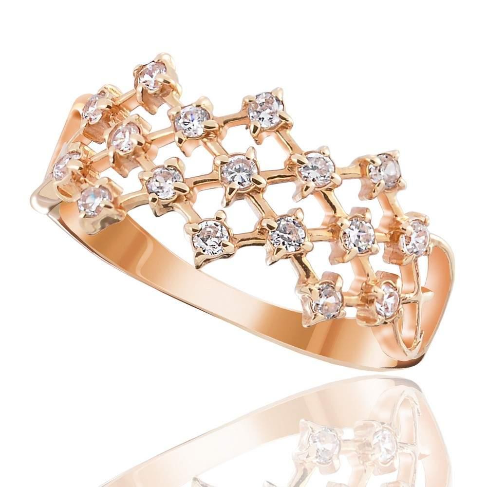 """Кольцо золотое широкое с цирконами """"Вуаль"""", КД0140 Eurogold"""