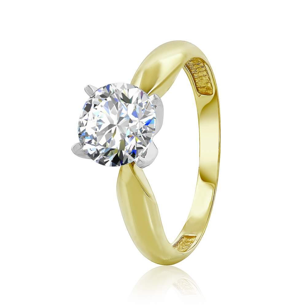 "Кольцо с SWAROVSKI Zirconia ""Абсолют"", желтое золото, КД4117/2SW Эдем"