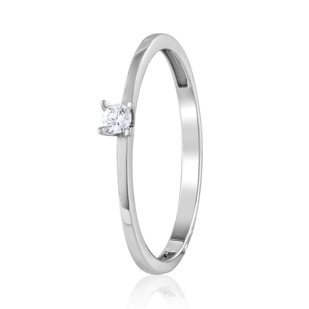 """Кольцо из белого золота с бриллиантом """"Амели"""", КД7298/1-003 Eurogold"""