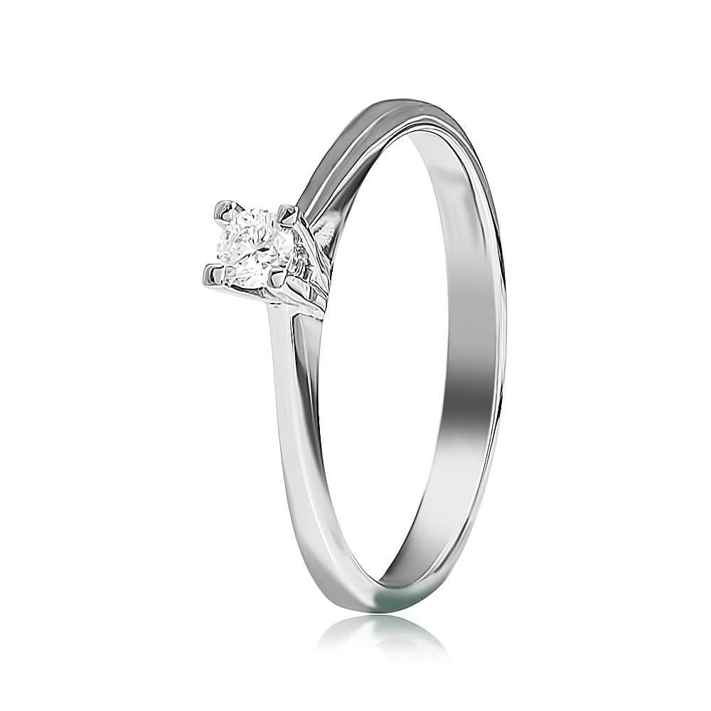 """Кольцо из белого золота с бриллиантом """"День"""", КД7525/1 Eurogold"""