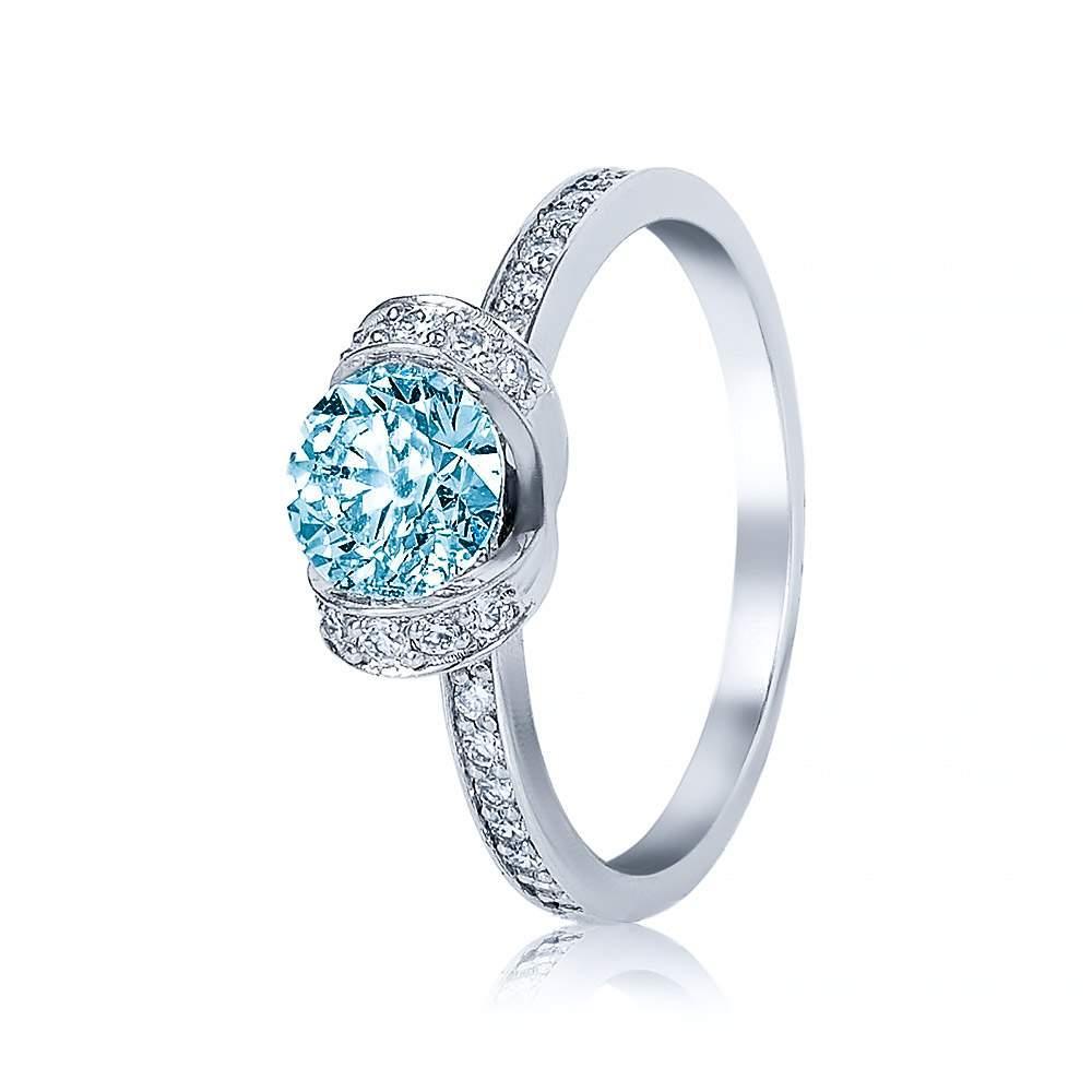 """Кольцо из белого золота с топазом и бриллиантами """"Прикосновение"""", КД7559/1ТОПАЗ Eurogold"""