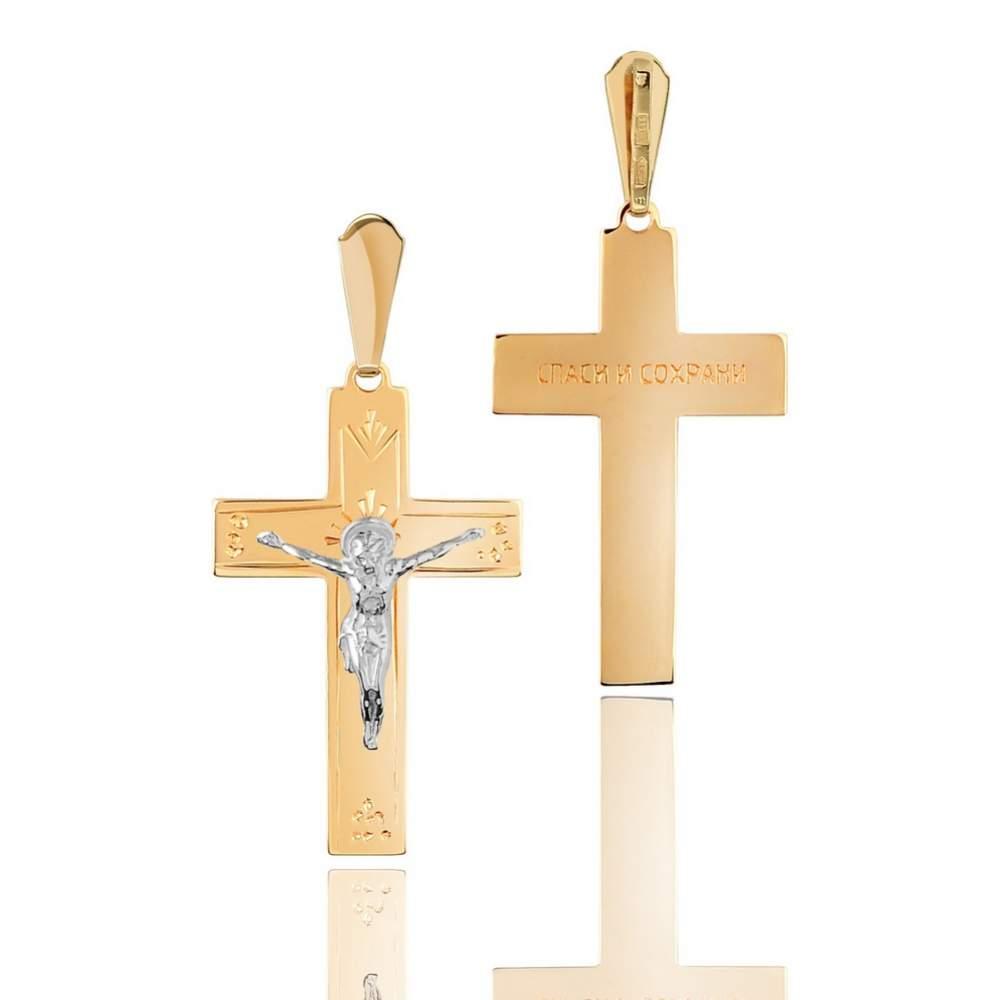 Золотой крест, с распятием из золота белого цвета, КР0105/1 Eurogold